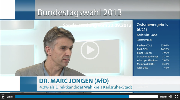 Interview Dr. Marc Jongen am Wahlabend der Bundestagswahl 2013