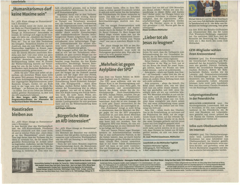 Leserbriefe - Mühlacker Tagblatt