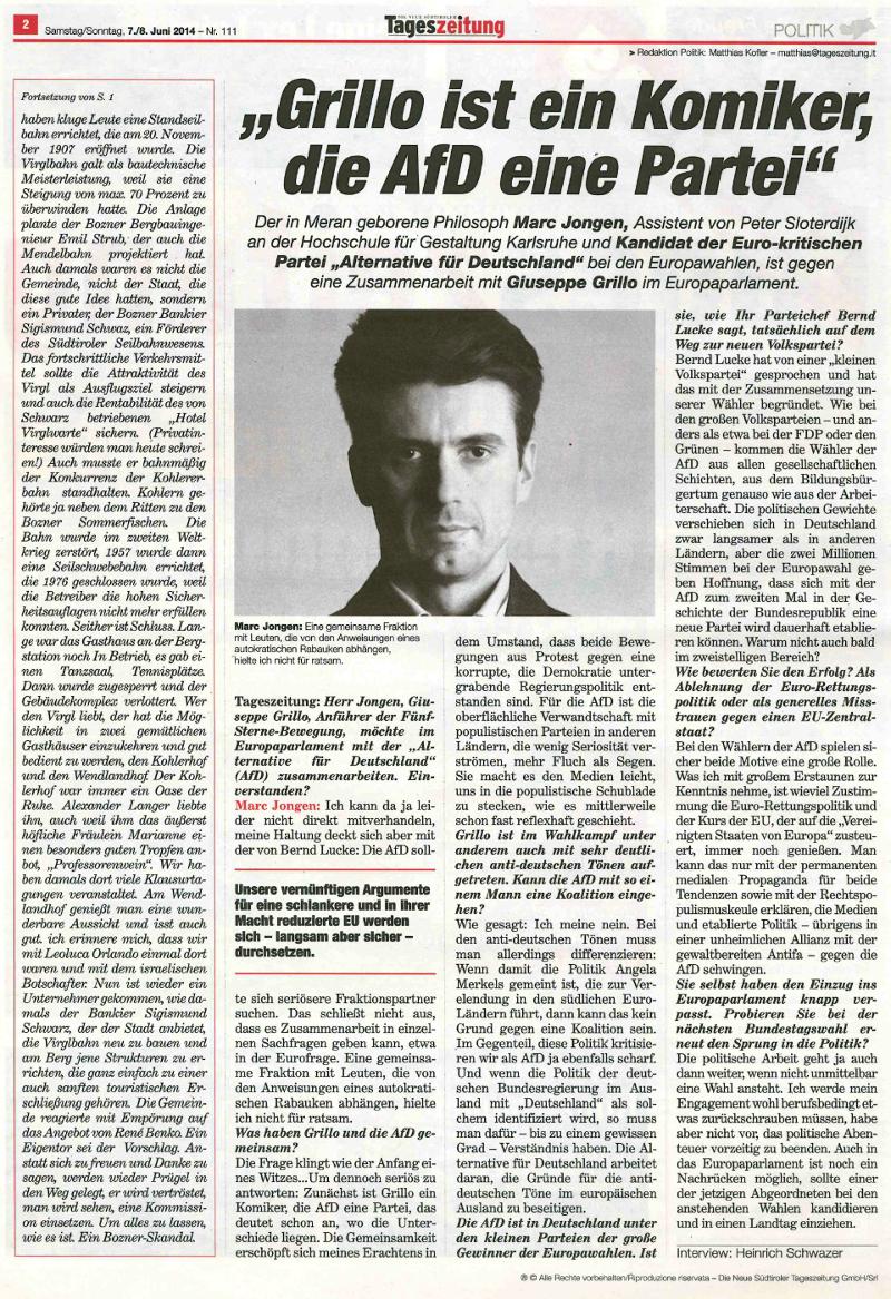 Tageszeitung_Juni 2014_Jongen